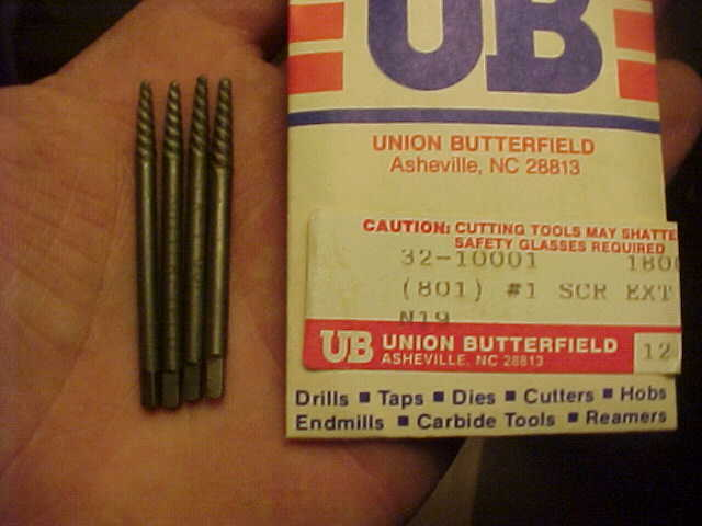 """4 New Union Butterfield #3 Screw Extractors Easy Outs /& 4 5//32/"""" HSS Bits USA"""