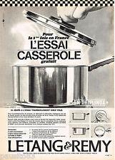 PUBLICITE ADVERTISING 055  1966  LETANG & REMY  casserole TRIPLINOX à l'essai