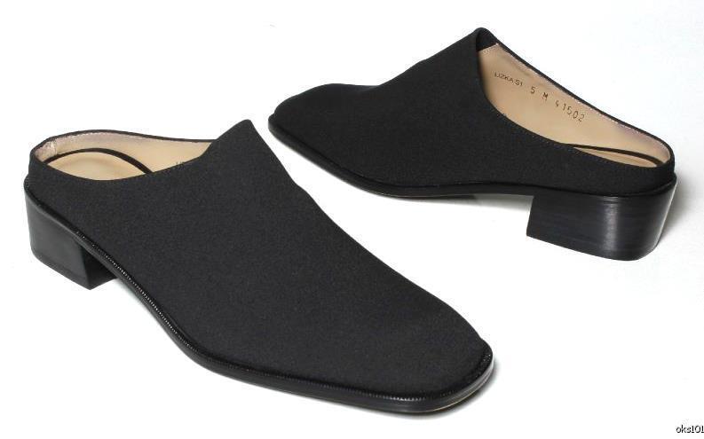 New DONALD J PLINER 'Lizka' black elastic mule slides shoes - very comfortable