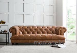 Chesterfield Vintage Tan Leather Sofa