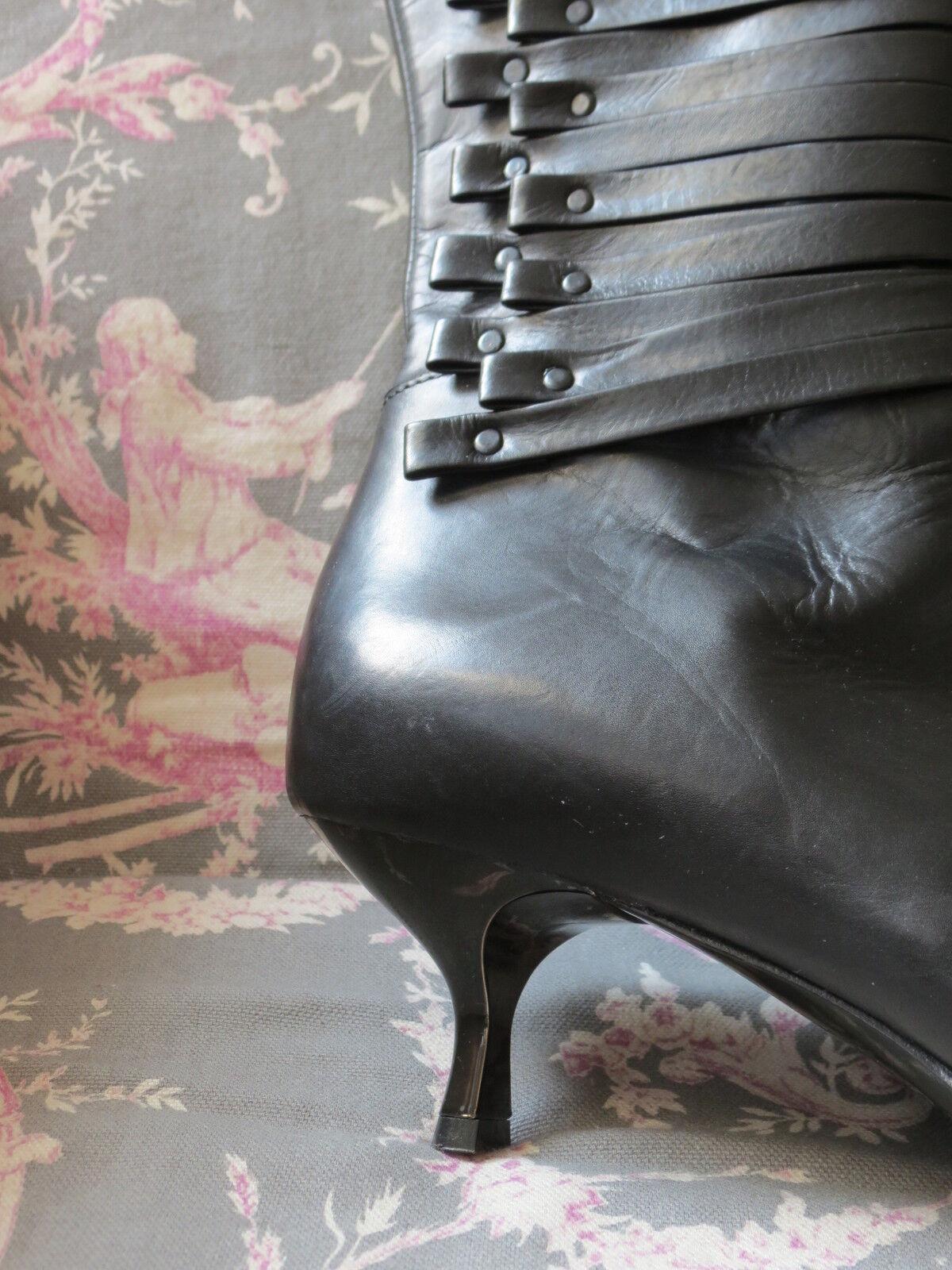 NEU! Stiefel Romanelli Gr.38 schwarzes Leder Riemchen Nieten