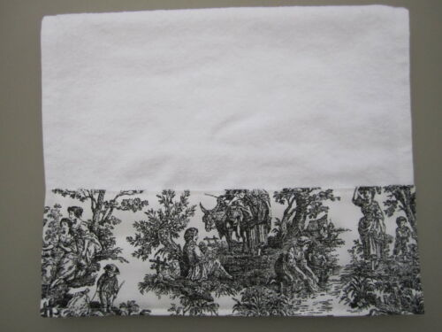 BLACK HAND TOWELS Black /& White French Country Guest Toile Bathroom Kitchen