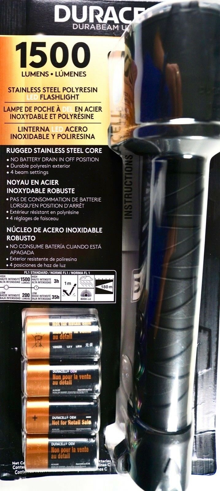 Duracell Durabeam 1,500 Lumens  LED Flashlight Stainless Steel, 4 Beam Settings  with 100% quality and %100 service