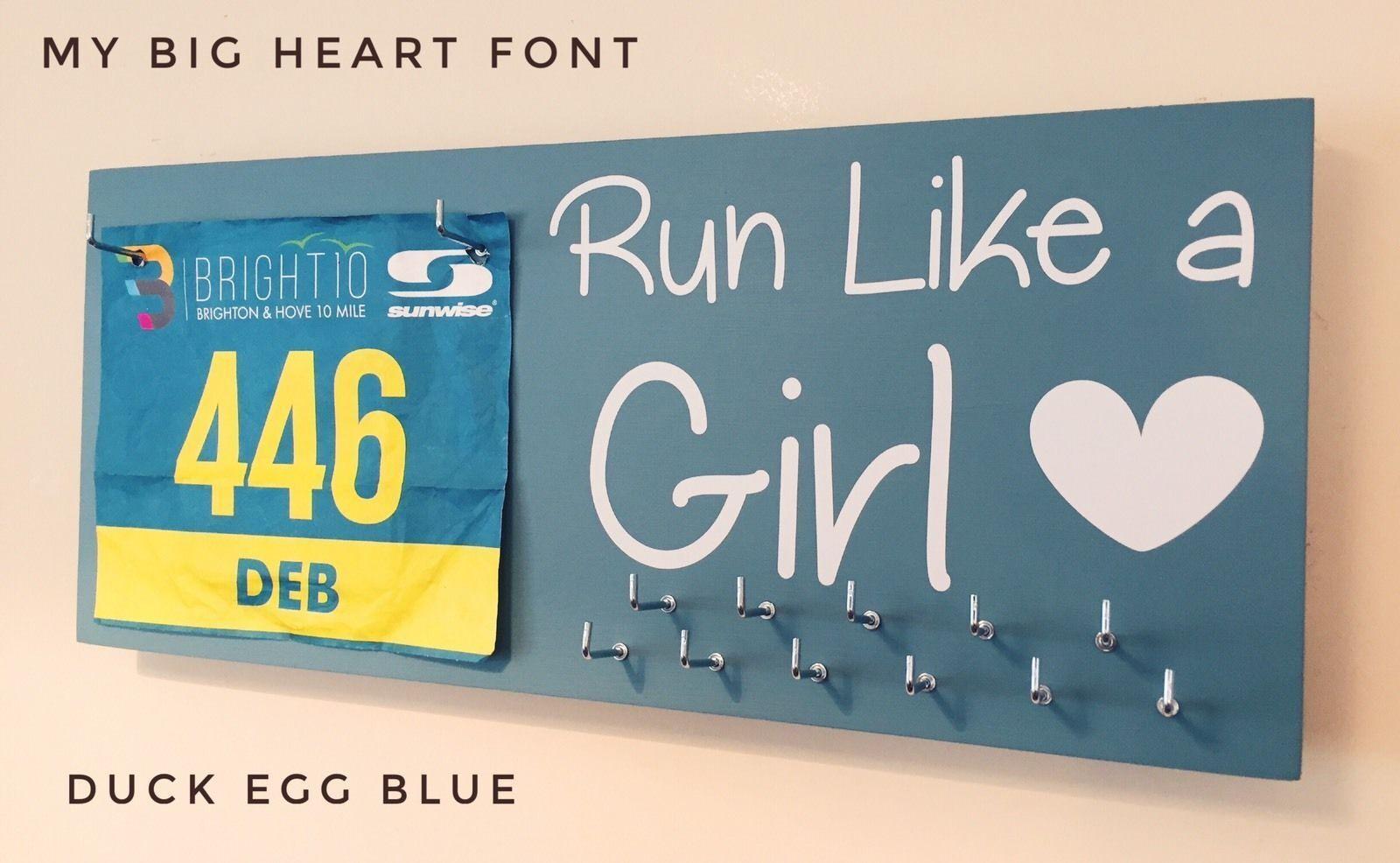 Run Like A Girl  - Runner   Sports Medal & Bib hanger   holder  display