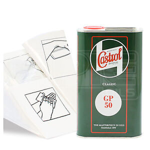 Engine-Oil-Top-Up-1-LITRE-Castrol-Classic-GP50-1L-Gloves-Wipes-Funnel