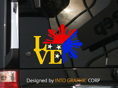 "Filipino Vinyl Car Decal Sticker  4.75/"" Unique I Love Philippine Flag design w"