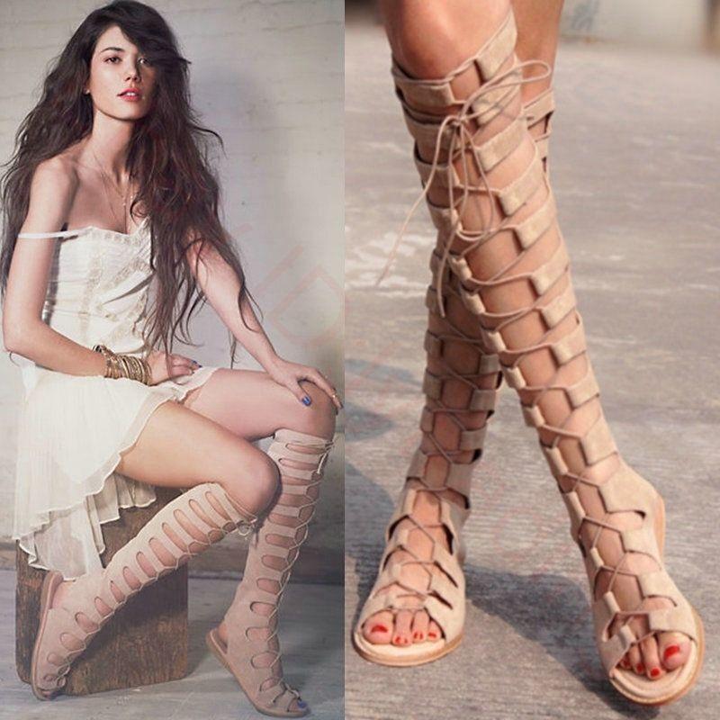Sensual Mujer Sandalias Gladiador Rodilla Alto Bota Romano plana Calado Calado Calado Con Cordones  barato