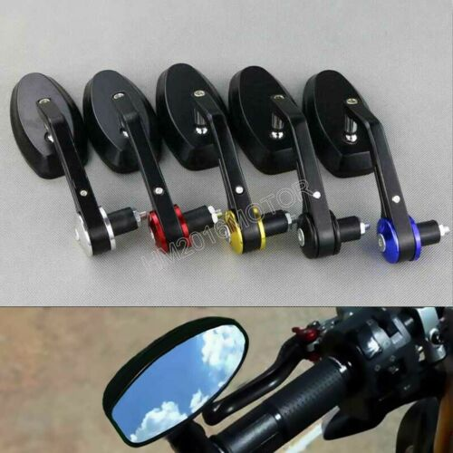 """Aluminum 7//8/"""" 22mm Handle Bar End Oval Mirrors For Triumph Street Speed Triple"""