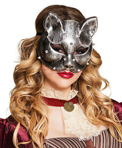 Image is loading LADIES-STEAMPUNK-CAT-MASK-DELUXE-VENETIAN-MASQUERADE-BALL-  sc 1 st  eBay : steampunk cat costume  - Germanpascual.Com
