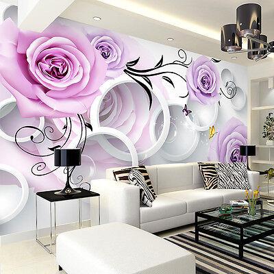 3D sitting room the bedroom Embossed TV rose flower background wallpaper B1822