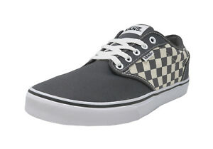 VANS Atwood Checkers Gray Natural Canvas Lace Up Sneakers Fashion ... cc9a9f4f3