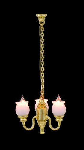 1:24 Scale 12 Volt New 3 Light Chandelier Light With Wiite shades & Bi-Pin Bulbs