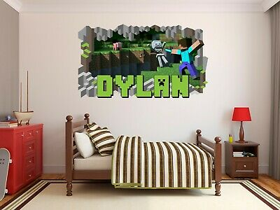 Wandtattoos Wandbilder Minecraft Name Wall Hole 3d Decal Vinyl Sticker Decor Room Personalized Games Mobel Wohnen