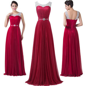 Plus Size Formal Long Chiffon Bridesmaid Evening Wedding Ball Gown Prom Dresses