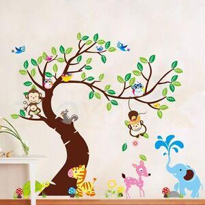 Wandtattoo Wald Kinderzimmer | Wandtattoo Wald Sticker Aufkleber Tiere Baum Affe Gross Kinderzimmer