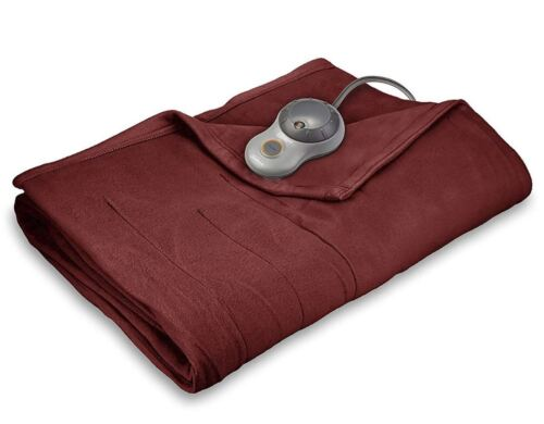 King Size Sunbeam Fleece Soft Quilted Electric Heated Blanket Dual Controllers
