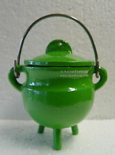 GREEN PLAIN CAST IRON CAULDRON WITH LID Wicca Pagan Witch Goth Herbs Incense