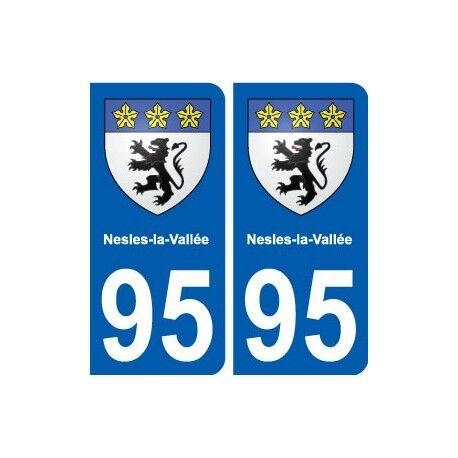 95 Nesles-la-Vallée blason autocollant plaque stickers ville arrondis