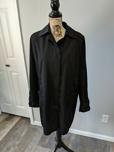 2e11ba09a Details about Women's Towne Collection By London Fog Jacket Size Large  Black Trench Coat