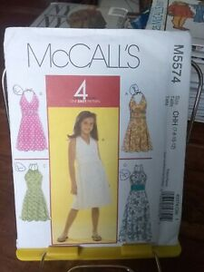 Oop-Mccalls-Easy-5574-girls-summer-halter-dress-4-styles-sz-7-12-NEW