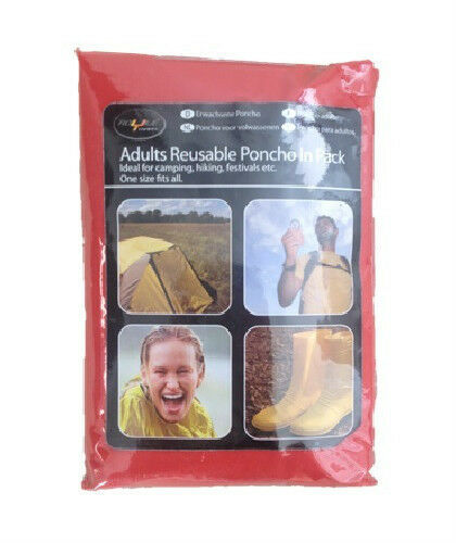 Festival Wear Rain Mac //Cape in Pack Hiking Adult REUSABLE Waterproof Poncho