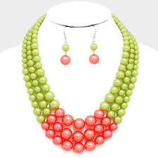 Three Layers Pink And Green Faux Pearl Necklace Earring Set