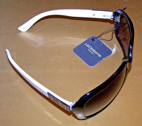 LIZ CLAIBORNE NY WRAP Sunglasses #82035 WHITE EARPCS 100/% UV BLACK FRAMES
