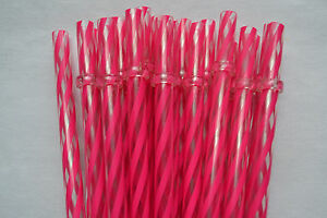 """Details about Reusable Straws Swirly Pink & Clear Plastic Acrylic 9"""" with  Rings BPA Free"""