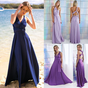 Image Is Loading Women Evening Dress Convertible Multi Way Wrap Bridesmaid