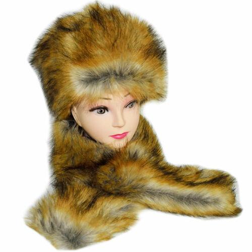 Russian Women/'s Winter Faux Fur Hat Cap Ear /& Neck Warmer Collar Scarf Xmas Gift