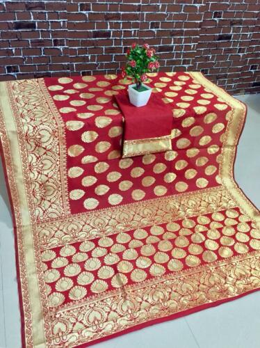 Indian Sari Bollywood Saree Wedding New Design Woven Banarasi Silk Fancy Sari IS