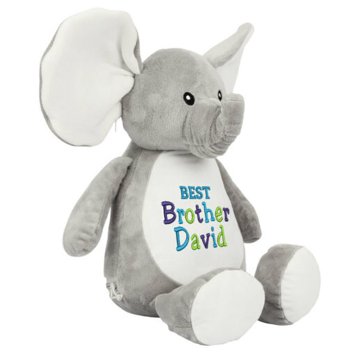Large Elephant 45cm Tall Personalised Soft Plush Elephant Teddy Embroidered Gift