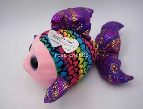 "Ty Beanie Boos 8.5/"" Flippy Multicolored fish Plush Stuffed Animals Toy Doll"