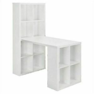 plain-Desk-Book-Shelf-White-Hobby-Craft-Table-Sewing-Storage-Modern-white