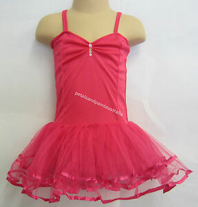 Fairy Dress Ballet Tutu Dance Costume Dk Pink 2-4 Year Polyester Stretch Leotard