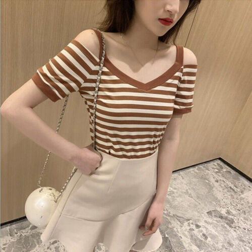 Women/'s Stripe Print Off The Shoulder Blouse Ladies Casual Short Sleeves Shirt