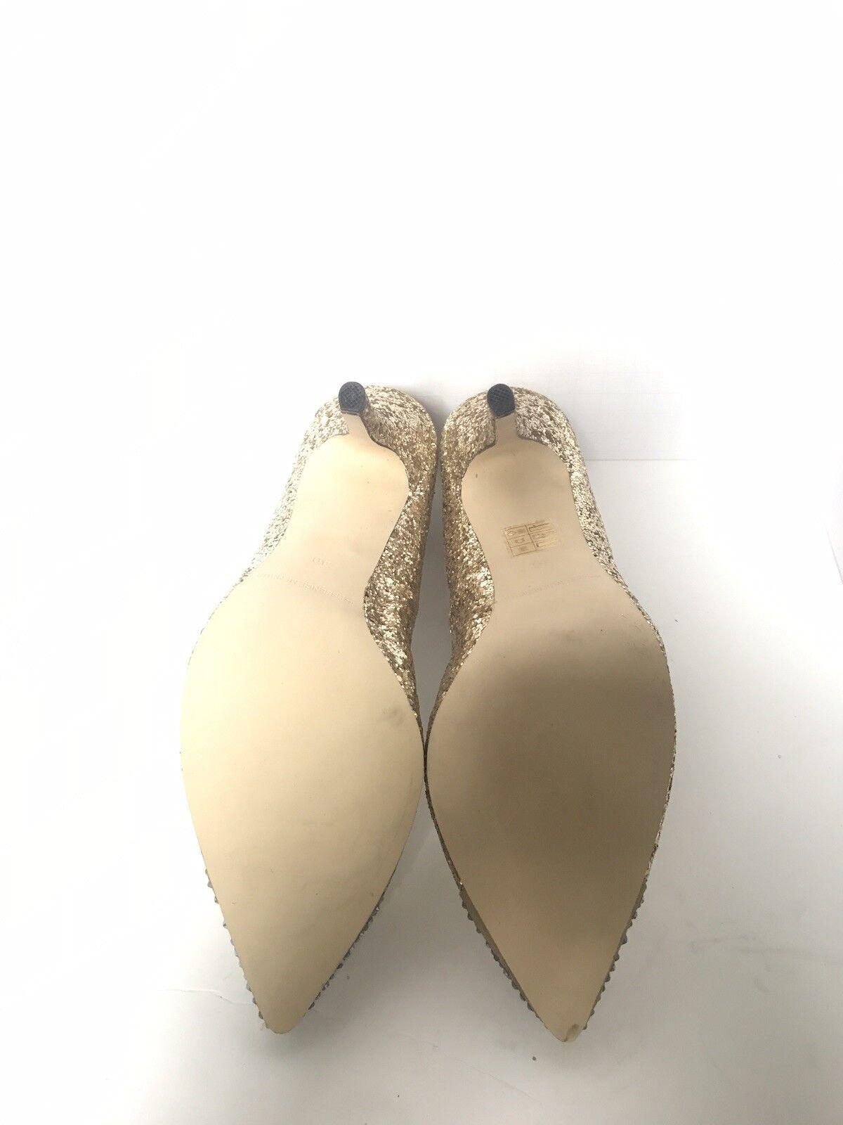 ESSENCEMENBUR Gold Sparkling textile cap toe heels sz. 40 40 40 265c5f