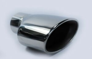 High Quality Single Wide Oval Slash Tail Pipe Polished Stainless Steel Trim Tip
