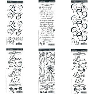 WEDDING-Love-Rub-On-Scrapbooking-Transfers-6-sheets-Verse-Words-Flowers-Hearts