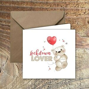 "LOCKDOWN VALENTINES CARD ""Lockdown Lover"" Design with envelope"