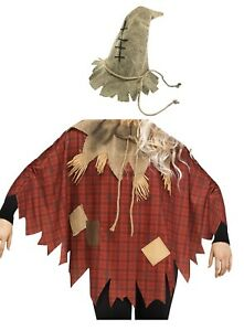 Adult Womens Burlap Scarecrow Hat Patches Straw And Plaid Poncho Costume Set