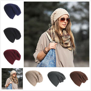 fa13f569 Details about Men's Women's Knit Baggy Beanie Oversize Winter Hat Ski  Slouchy Cap Father day