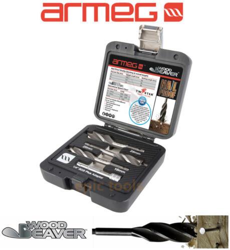 SDS Adaptor ARMEG NAIL PROOF 3 Piece 16,20,25mm Stubby Wood Beaver Drill Bits