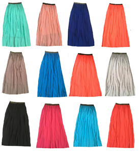 Ladies Women/'s Chiffon Long Skirt With Lining Brand New With Tag
