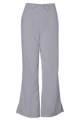 Cherokee Workwear Flare Leg Drawstring Pants Grey PETITE 4101P GRYW FREE SHIP US