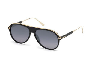 sunglasses TOM FORD FT0624 NICHOLAI-02 shiny black smoke mirrored ... 69380a1a22
