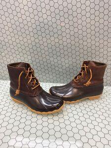 Sperry-Top-Sider-SALTWATER-Brown-Leather-Rubber-Waterproof-Rain-Boots-Women-s-7
