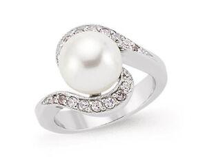 Pearl Anillo De La Perla Agua Dulce Redondo Chapado En Platino Plata Ley Fine Jewelry