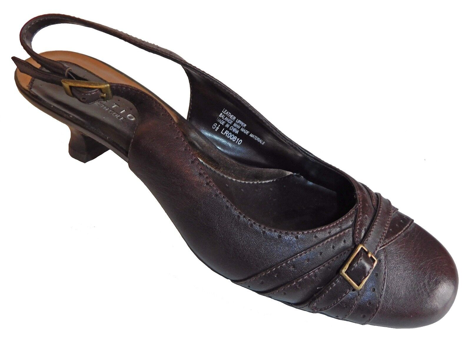 Kenneth Cole Reaction Womens Slingback Brown Pumps Shoes Buckle Trim Brown Slingback Size 6.5 c8140b
