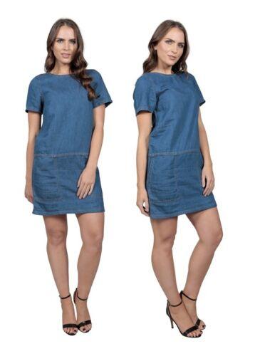 Womens Short Sleeve Denim Dress Holiday Size 10 12 14